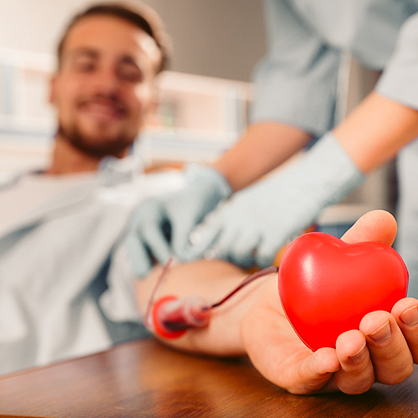 Young man making blood donation in hospital, focus on hand